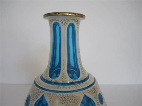 Vintage European Blue White And Gold Bohemian Glass Vessel