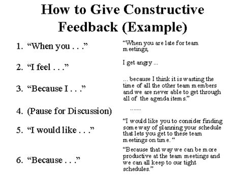 how to give constructive feedback exle