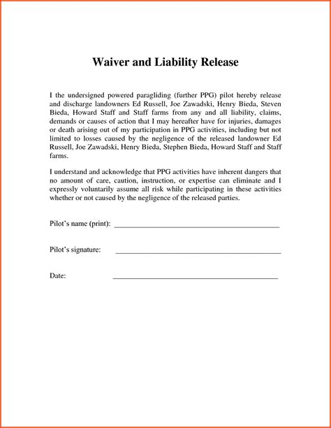 release of liability letter template exles letter
