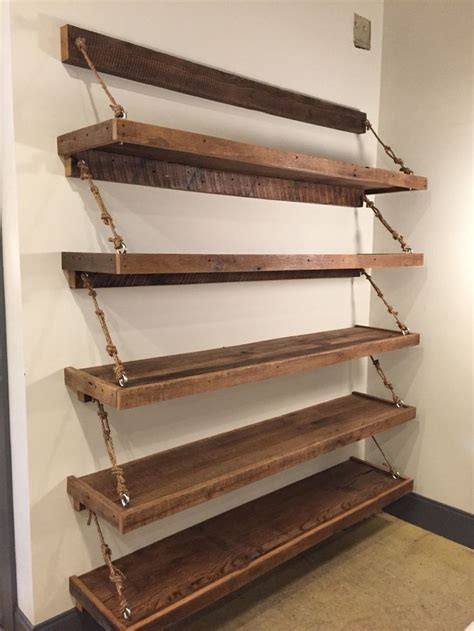 wood shelves floating reclaimed wood rope shelves for the home pinterest rope shelves shelves and woods