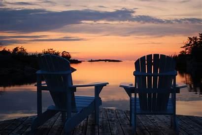 Lake Sunset Muskoka Chairs Dock Adirondack Cottage