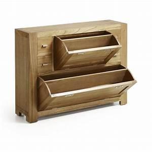 Meuble Chaussure Bois Massif : meuble chaussures en bois massif 4 tiroirs entr e ~ Teatrodelosmanantiales.com Idées de Décoration