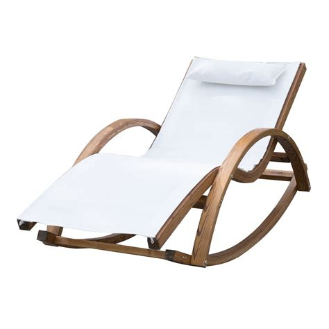 outsunny garden wooden recliner rocking chair ideal home