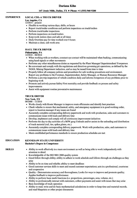 Summary Of Qualifications For Truck Driver by Truck Driving Resume Exles Exle Document And Resume