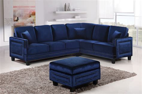 Navy Sofa by Braylee Modern Navy Velvet Sectional Sofa With Nailhead Trim