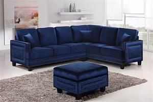 Braylee modern navy velvet sectional sofa with nailhead trim for Sectional sofas with nailhead trim