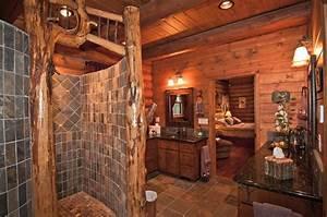 Rustic Master Bathroom with Log walls & Undermount Sink