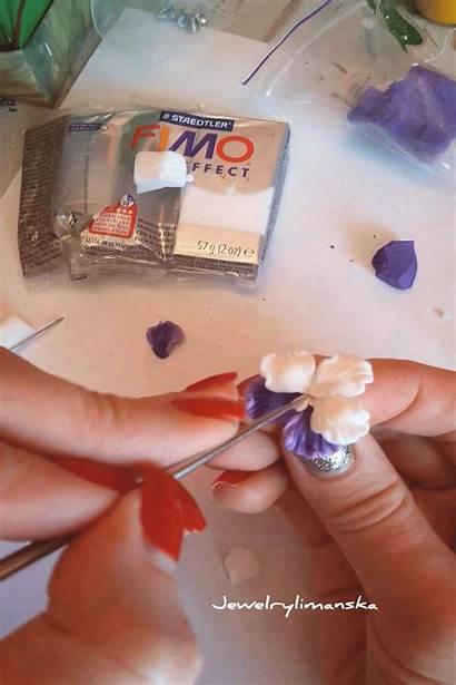 Clay Polymer Stud Pansies Earrings Multicolor Wonderful