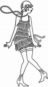 Embroidery Designs Flapper Coloring Urban Threads Urbanthreads Machine sketch template