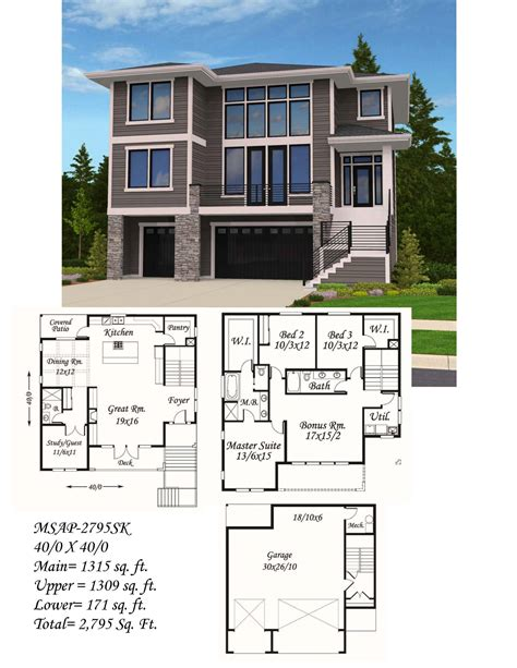 HIllside Modern House Plan Built in: City of Portland