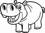 Hippo Coloring Funny Printable Smiling Outline Drawing sketch template