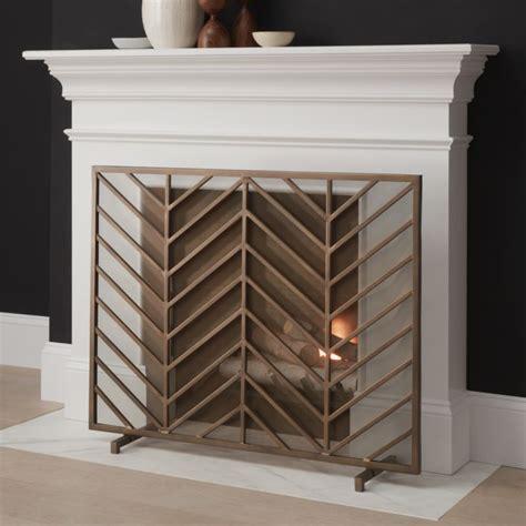 chevron brass fireplace screen crate  barrel