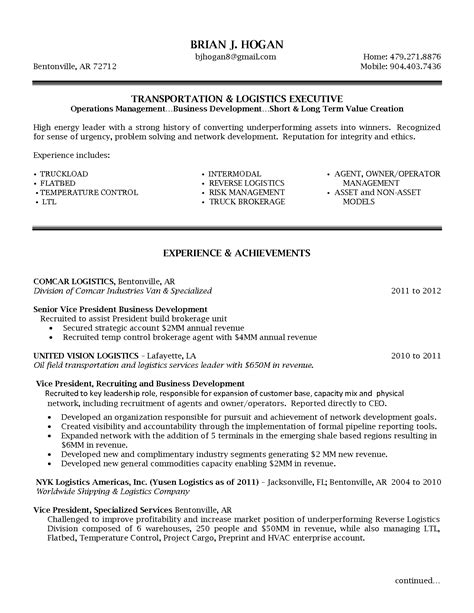 Ar Resume by Senior Logistic Management Resume Vp Director Operations
