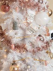 white christmas tree with stylish rose gold and pink decorations don t cr my style