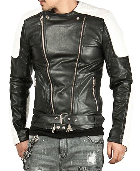 men s white padded design black leather moto jacket