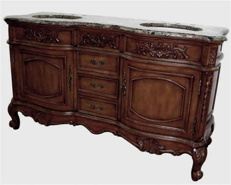 60 inch double sink bathroom vanity with antique brown