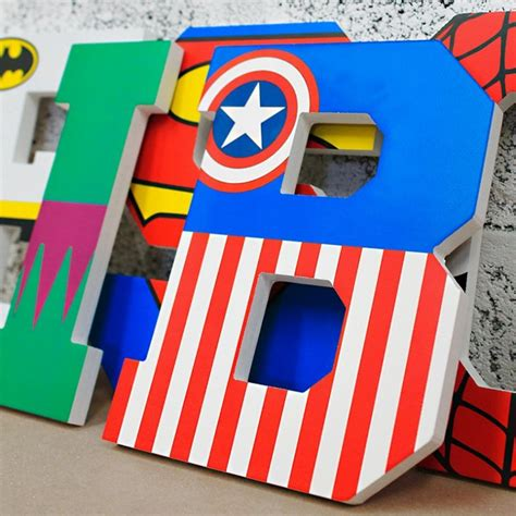 superhero painted wooden wall letters