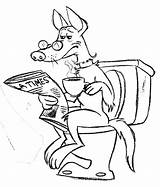 Toilet Funny Drawing Animal Sitting Reading Line Squirrel Dogs Getdrawings Skin Potty sketch template