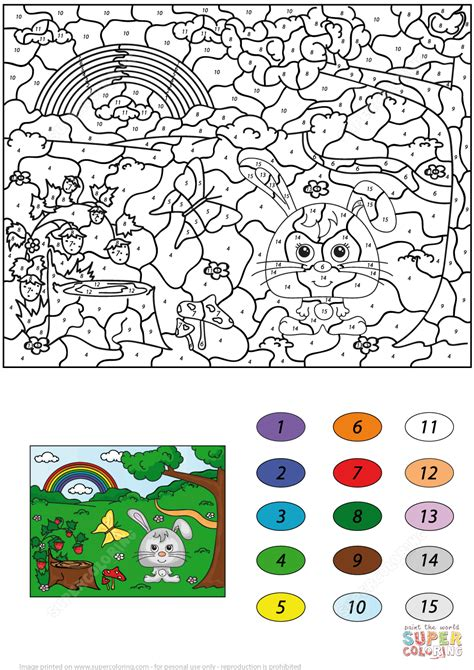 Summer Scene Color By Number  Free Printable Coloring Pages
