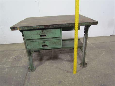 butcher block wood top industrial workbench table