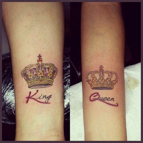 king  queen crown tattoos   arms