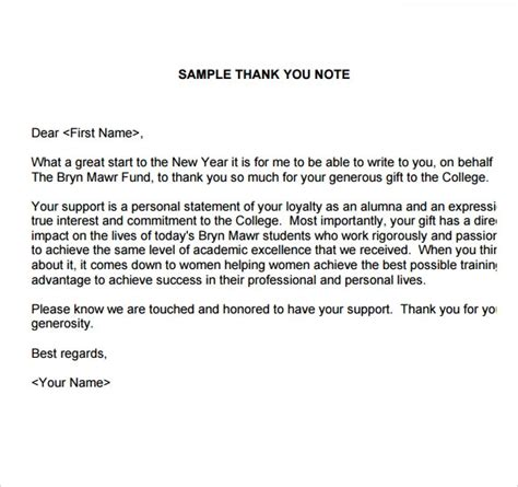 sample   note  gift  documents   word