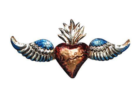 Wall art mexican handpainted tin ornament heart milagro #71 3/$26. HEART WITH WINGS   Handmade, Tin Wall Decor - Buy At Viva ...