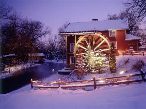 Red Mill At Christmas Parfreyville Wisconsin Christmas