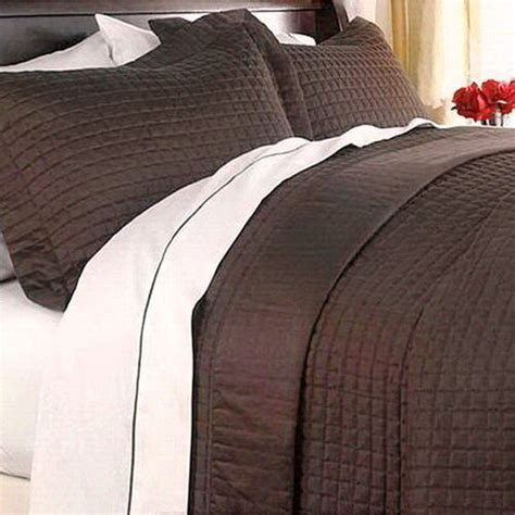 Brown Quilted Coverlet by Hotel Modern Reversible Solid Chocolate Brown Quilt