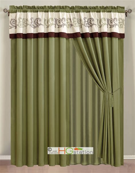 upc shower 4 pc embroidery scroll floral vine curtain set ivory