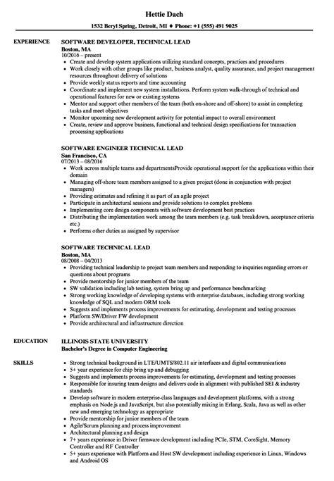 Sle Resume For Technical Lead by Software Technical Lead Resume Sles Velvet
