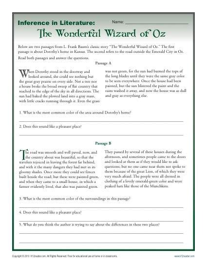 reading passages for 6th grade inference in literature the wizard of oz middle school worksheets