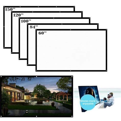 """16:9 Portable Wall Projection Screen Projector 150"""" HD For"""