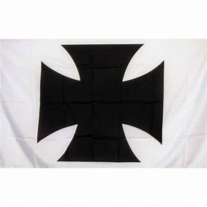 Maltese Cross White With Black Cross 3 U0026 39 X 5 U0026 39  Flag  F