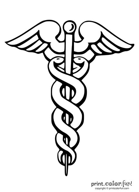 caduceus medical symbol coloring page print color fun