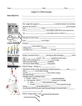 5 1 what is energy work power and energy guided notes worksheet physics what is energy