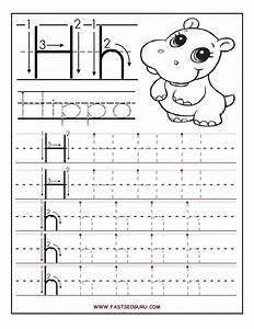 printable letter h tracing worksheets for preschool With preschool letter writing