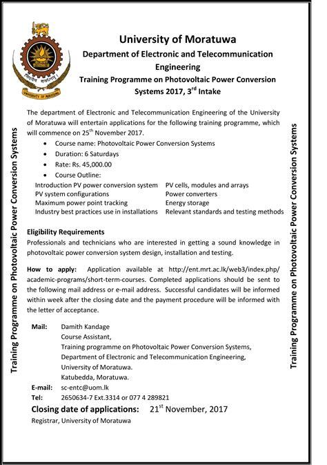 training programme  photovoltaic power conversion