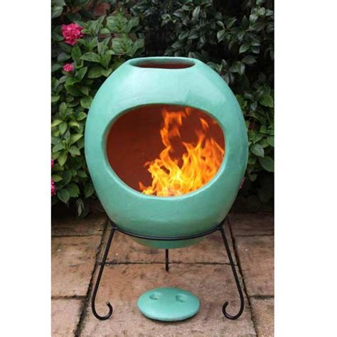 Chiminea On Sale - gardeco ellipse clay chiminea large green on sale