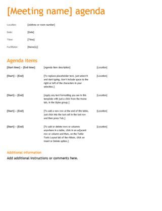 business meeting agenda orange design