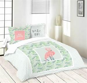 Parure De Lit Flamant Rose : parure de lit ambiance estivale vert homemaison vente en ligne parures de lit ~ Teatrodelosmanantiales.com Idées de Décoration