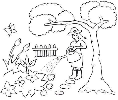 gambar kartun anak perempuan menyiram bunga