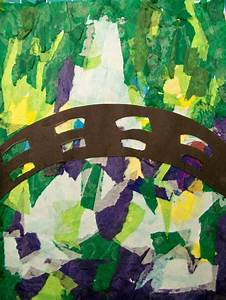 Tissue paper background, construction paper bridge