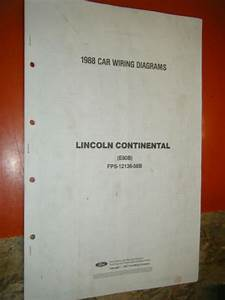 1988 Lincoln Continental Factory Wiring Diagrams Sheets