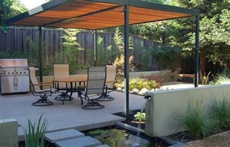 simple shade structure and water feature outdoor spaces simple water features