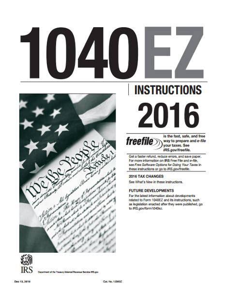 federal ez form 2016 2016 1040ez instructions booklet