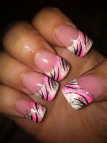Pink nail design nails art black silver designs