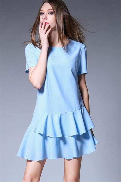light blue casual dress light blue sleeve layered casual dress casual