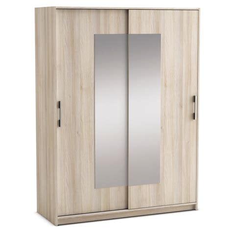 penderie chambre armoire penderie 2 portes coulissantes et miroirs