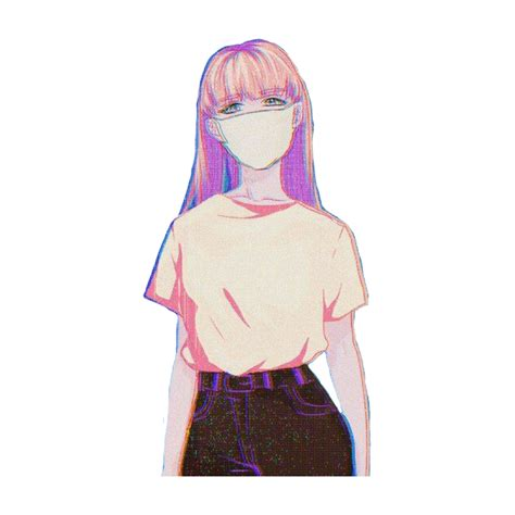 anime animegirl girl pink pinkgirl mask aesthetic drawi